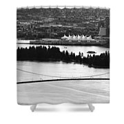 Vancouver Bc City Skyline And Lions Gate Bridge Shower Curtain