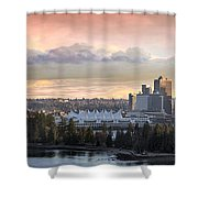 Vancouver Bc City Skyline And Stanley Park Shower Curtain