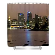 Vancouver Bc City Skyline At Night Shower Curtain