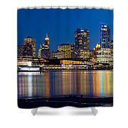 Vancouver Bc City Skyline Reflection Shower Curtain