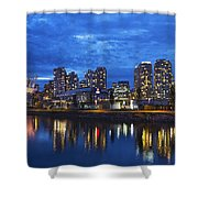 Vancouver Bc City Skyline With Bc Place At Blue Hour Shower Curtain