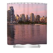 Vancouver Bc Skyline Along False Creek At Dusk Shower Curtain