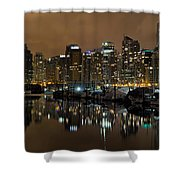 Vancouver Bc Skyline From Stanley Park At Nigh Shower Curtain
