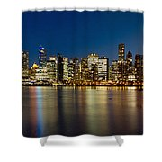 Vancouver Bc Skyline From Stanley Park During Blue Hour Shower Curtain