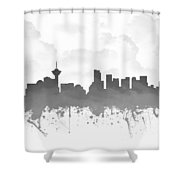 Vancouver British Columbia Skyline - Gray 03 Shower Curtain