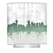 Vancouver British Columbia Skyline - Teal 03 Shower Curtain