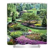 Vancouver Butchart Sunken Gardens Beautiful Flowers No People Panorama Shower Curtain