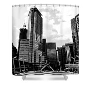 Vancouver Olympic Cauldron- Black And White Photography Shower Curtain