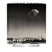 Vancouver Skyline Acloud Over English Bay Shower Curtain