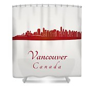 Vancouver Skyline In Red Shower Curtain