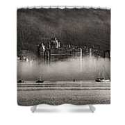 Vancouver Skyline With Fog Over English Bay Shower Curtain