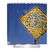 Vandalized Road Sign Many Bullet Holes Shower Curtain