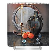 Vanitas Still Life By Candlelight With Clementines 1 Shower Curtain