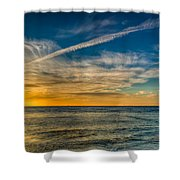 Vapor Trail Shower Curtain by Adrian Evans