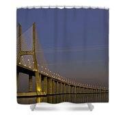 Vasco Da Gama Bridge In The Moonlight Shower Curtain