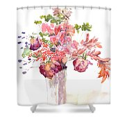 Vase Of Dried Flowers Shower Curtain