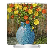 Vase Of Marigolds Shower Curtain