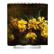 Vase Of Yellow Tulips Shower Curtain