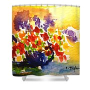 Vase With Multicolored Flowers Shower Curtain