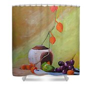Vase With Orange Leaves And Fruit Shower Curtain