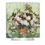 Vase With Pink Roses Shower Curtain