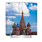 Vasily The Blessed Cathedral And The Red Square Of Moscow - Featured 3 Shower Curtain