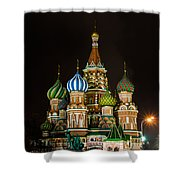 Vasily The Blessed Cathedral At Night - Featured 3 Shower Curtain