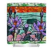 Vector Illustration Of Flower Sunflower In Stained Glass Window  Shower Curtain