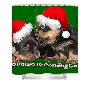 Vector Santa Paws Is Coming To Town Christmas Greeting Shower Curtain