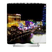 Vegas At Night Shower Curtain by Barbara Chichester