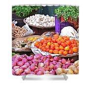 Vegetable Vendor - Omkareshwar India Shower Curtain