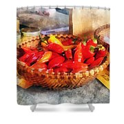 Vegetables - Hot Peppers In Farmers Market Shower Curtain