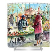 Vegetables Seller In A Provence Market Shower Curtain