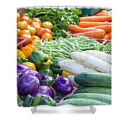 Vegetables Stand In Wet Market Shower Curtain