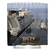 Vehicles Are Transferred Aboard Shower Curtain
