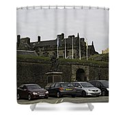 Vehicles At The Parking Lot Of Stirling Castle Shower Curtain