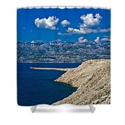 Velebit Mountain From Island Of Pag Shower Curtain