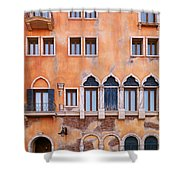Venetian Building Wall With Windows Architectural Texture Shower Curtain