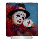Venetian Carnival - Portrait Of Clown With Mask Shower Curtain