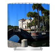Venetian Style Bridge And Villa In Miami Shower Curtain