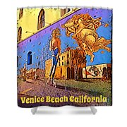 Venice Beach Posterized Shower Curtain