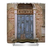 Venice Blue Arched Window Shower Curtain