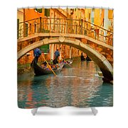 Venice Boat Bridge Oil On Canvas Shower Curtain