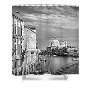 Venice Canal Grande Santa Maria Della Salute Black And White Shower Curtain