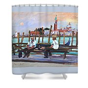 Venice Gondola With Full Moon Shower Curtain