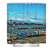 Venice Gondolas On The Grand Canal Shower Curtain