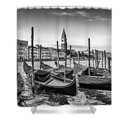 Venice Grand Canal And Goldolas In Black And White Shower Curtain