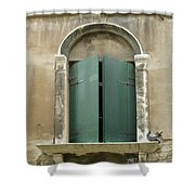 Venice Green Shutters With Birds Shower Curtain