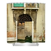 Venice Italy Boat Room Shutters Shower Curtain