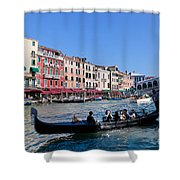 Venice Italy Gondola With Tourists Floats On Grand Canal Shower Curtain